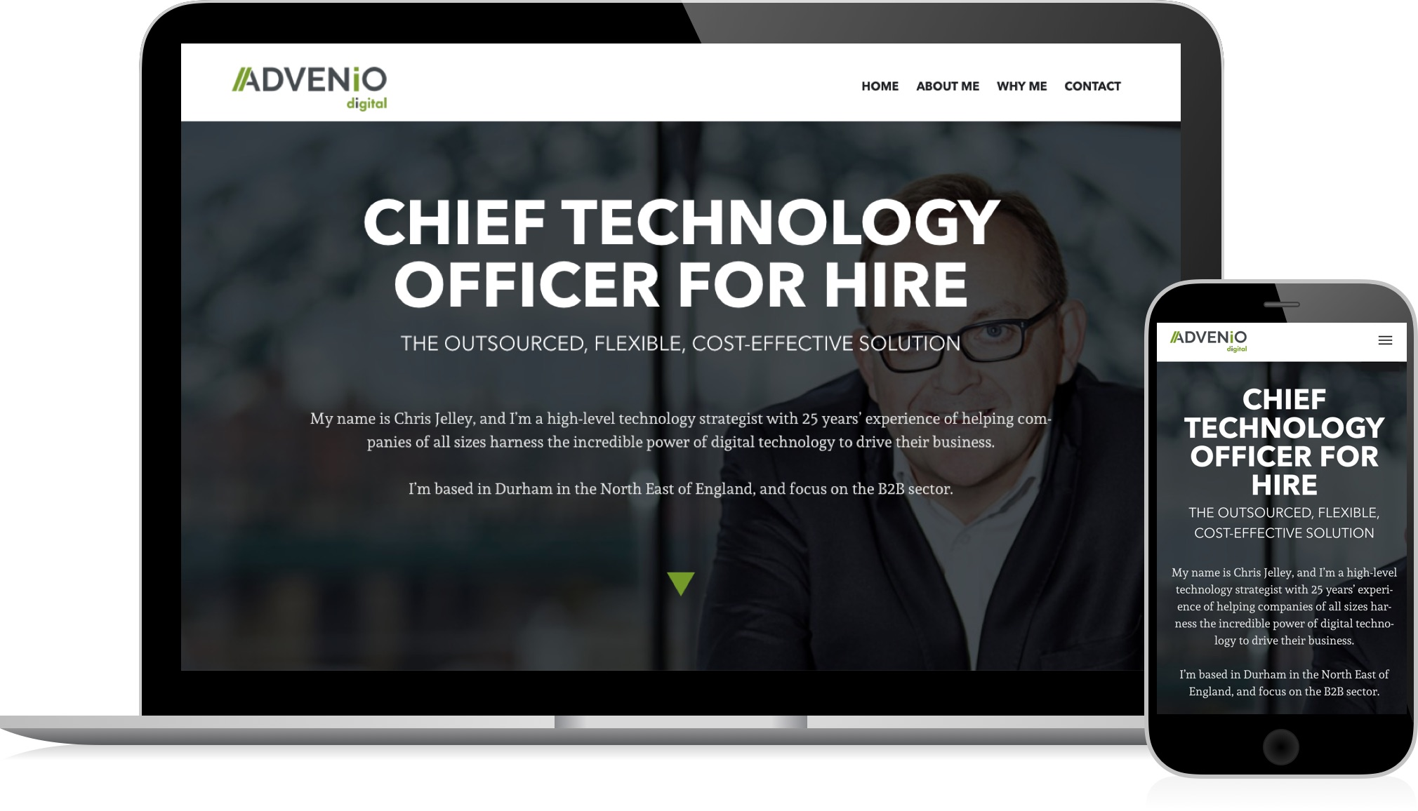 Advenio Digital - responsive website by HeavyGuru web design, London