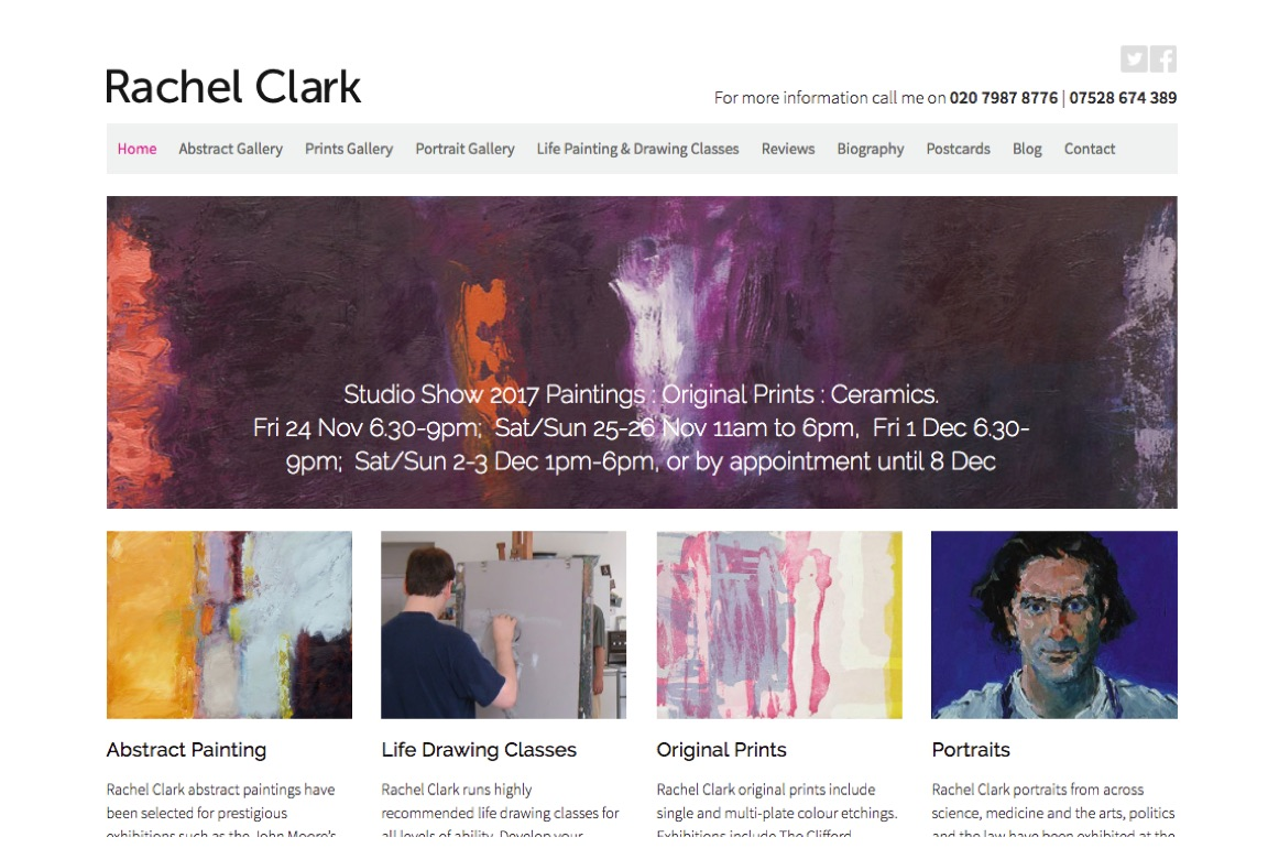 Rachel Clark, Artist - website by HeavyGuru Web Design, London