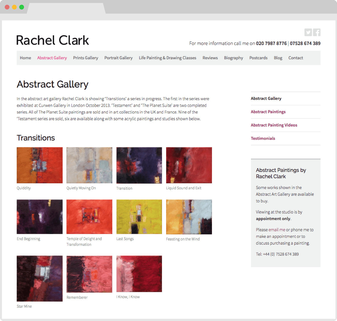 Artist portfolio websites by HeavyGuru, London