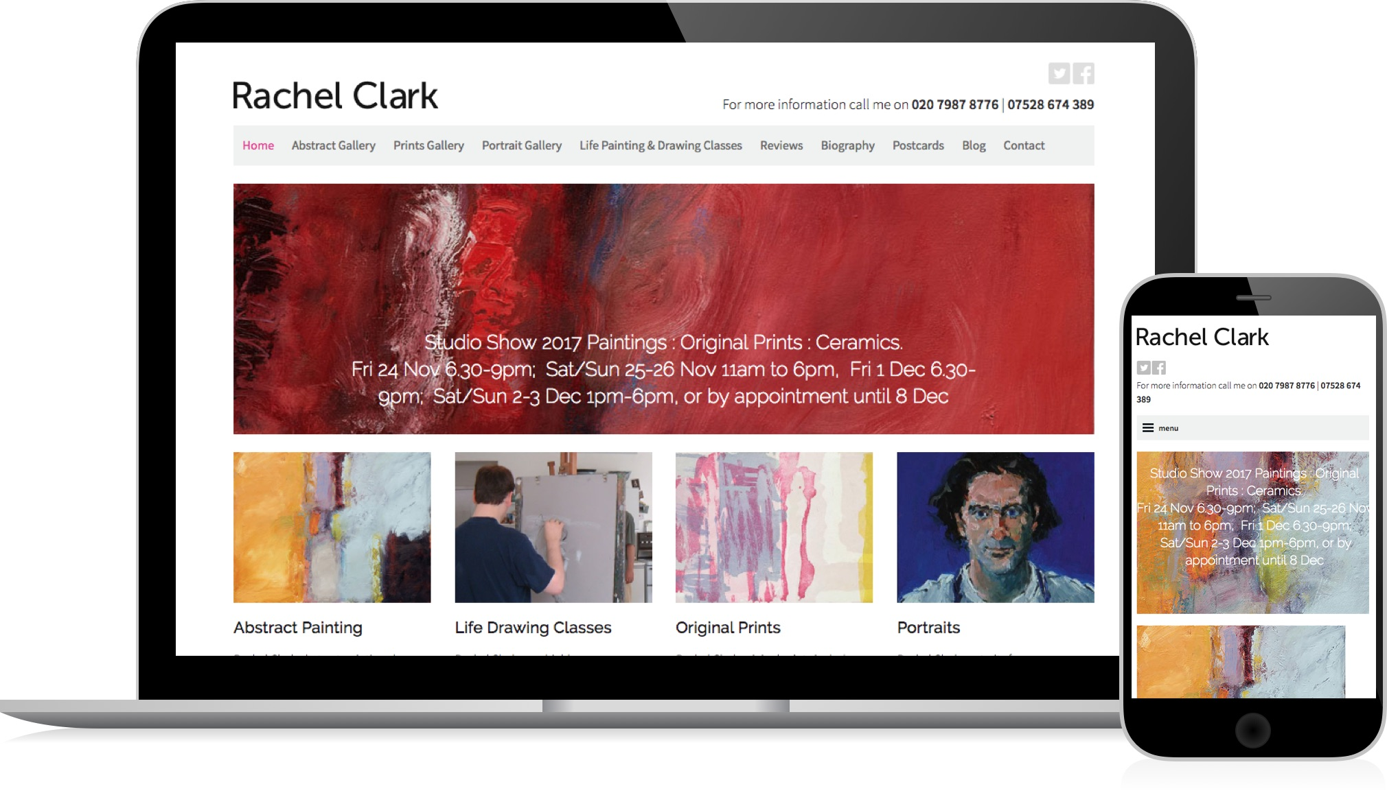 Rachel Clark, Artist - a responsive website by HeavyGuru web design, London