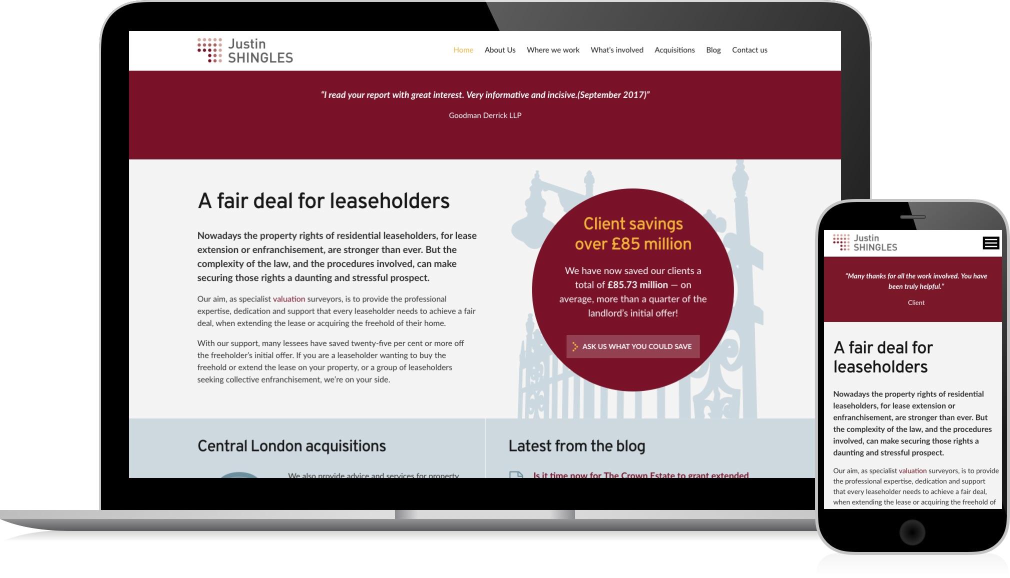Justin Shingles Ltd. - website design and development by HeavyGuru, London