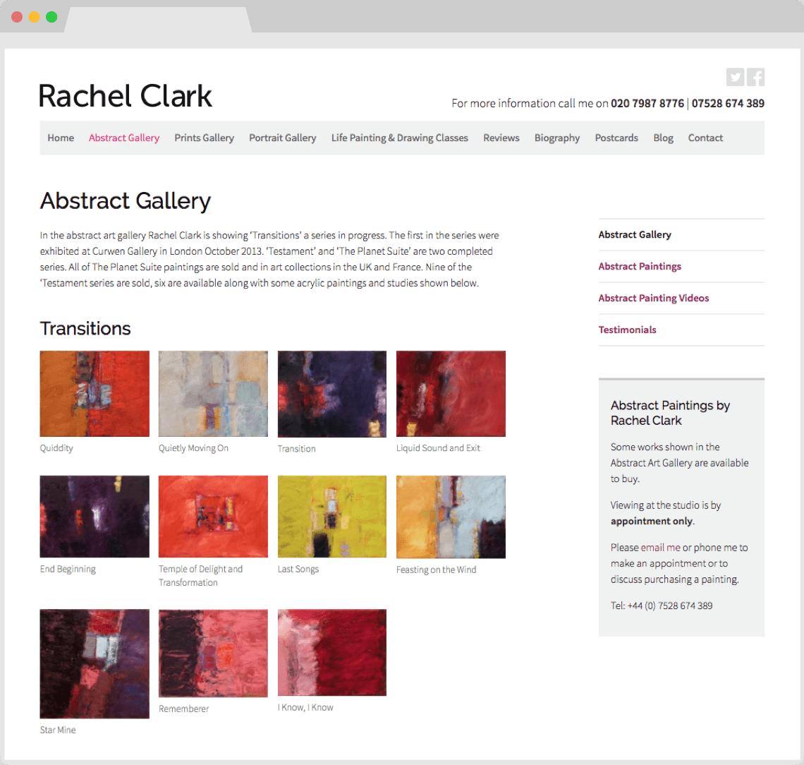Artist portfolio websites by HeavyGuru, London