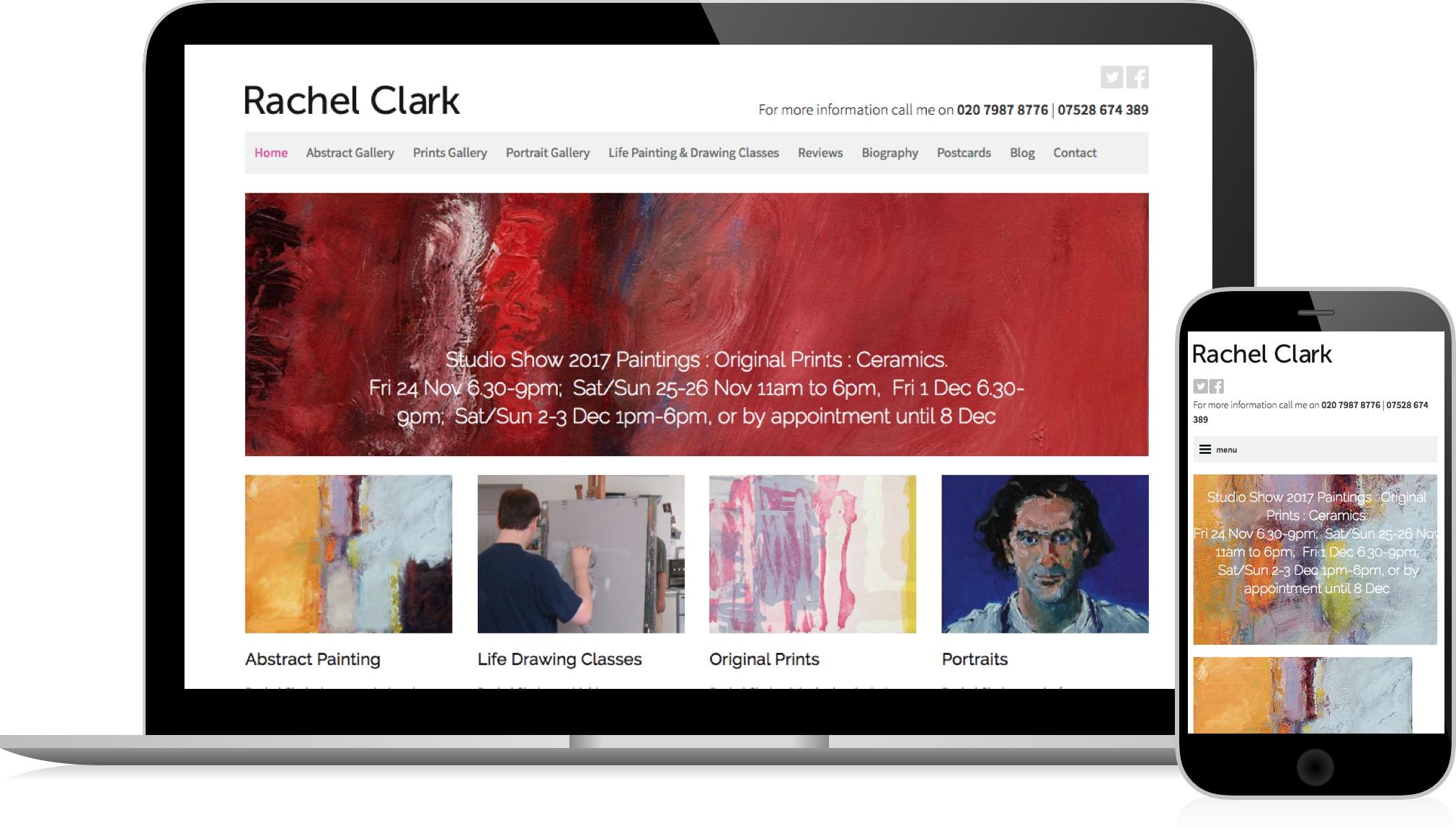 Rachel Clark, Artist - a responsive website by HeavyGuru web design, London