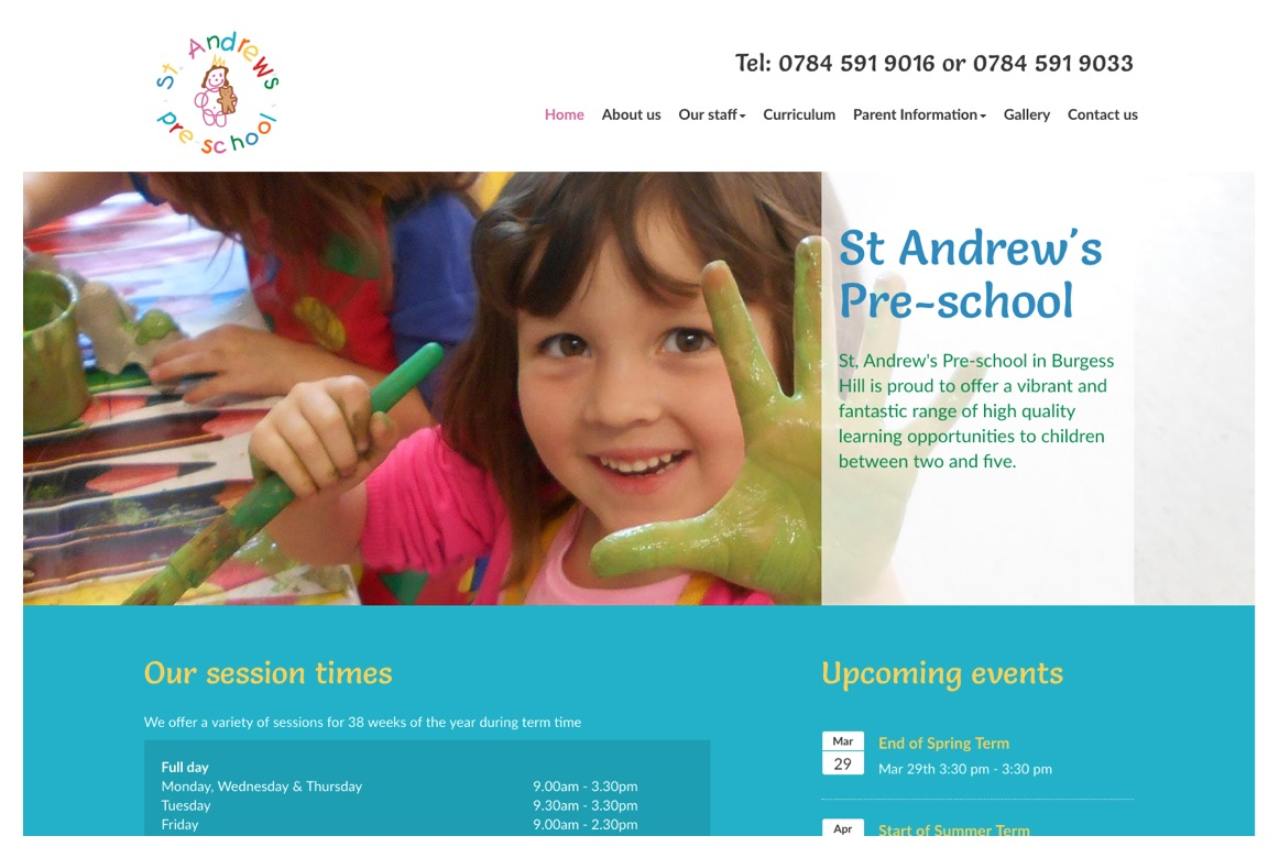 St Andrews Pre-school - website by HeavyGuru Web Design and Development, London